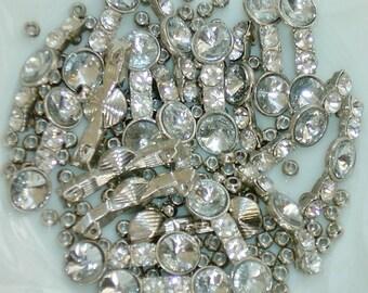 LOT Rhinestone Jewelry Connector Bars, Metal Beads