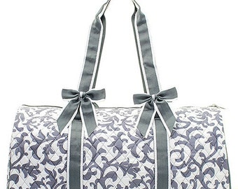 Personalized Gray Damask Duffle Bag Bag Cheer Dance Pageant