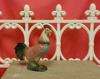 vintage 50's rooster ceramic rooster retro pink rooster vintage kitchen French Country collectible gifts turquoise roosters  knick knacks