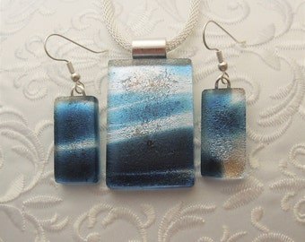 Pendant And Earring Set - Dichroic Fused Glass Pendant - Fused Glass - Dichroic Glass - Etched Glass - Blue Pendant X3310