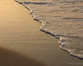 Ocean print, beach photography, ebb and flow tide, waves photo, sea and sand, beach house print, beach water on sand, sea ripples, sunrise