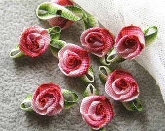 Shades of pink rose ribbon flower - 12 pcs (AP021)