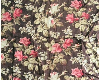 On Sale - Darling Antique 19thc Victorian Cotton Quilt Fabric Roses