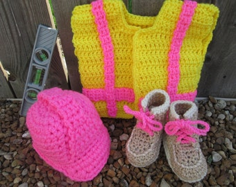 Baby Construction Worker Contractor Boots Hard Hat safety vest girl