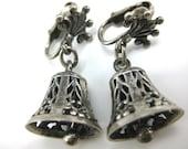 Clip on Earrings, Cini, Antique Earrings, Sterling Silver, Silver Bells Earrings