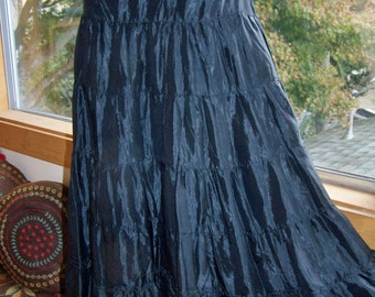 Black SKIRT, Tiered long skirt, flowing maxi skirt, size M / L