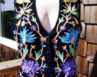Embroidered vest,  Floral vest, Gypsy vest, Black Cotton vest, Festival vest, Boho vest, size M