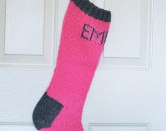 Hand Knitted - Personalized Knitted Christmas Stocking, Pink and Grey