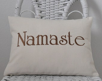 Namaste Pillow Yoga Pillow INSERT INCLUDED. Word Pillow Inspirational Gift Choose your  Fabric Color.