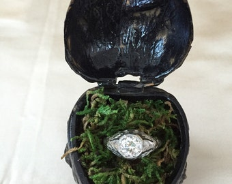 Unique Vintage Victorian Heart Ring Box with Roses