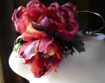 RED Magnolia Double Silk Millinery Flower for Bridal, Hats, Corsages, Floral Supply MF