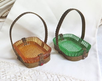Antique French Salt Cellars in Brass with Paste Set Baskets Green and Gold Nut Dishes