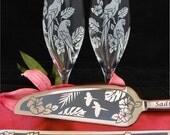 Macaw Wedding Cake Server Champagne Flute Set, Table Settings for Tropical Wedding, Jungle Wedding