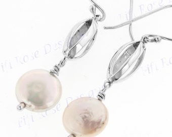 "1 3/16"" White Biwa Pearl 925 Sterling Silver Earrings"