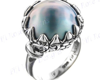 Opulent Big Mabe Pearl Sterling Silver Us 8 Ring