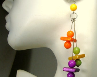 1960s POP Psychedelic MOD Long Earrings, Red Violet, Lime, Orange, Yellow Bead Dangles,  Posts,  Fun Square and Round Resin  Beads Pierced