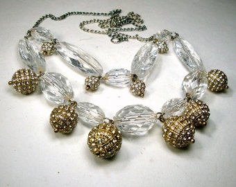 ICE CUBE Clear Lucite Necklace, With Rhinestone Encrusted Ball Dangles on a Chain, OOAK Rachelle Starr, Ecochic Recycled