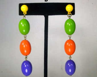 MOD POP Colors Dangle Earrings, 1960s Long Psychedelic Colorful Posts, STYLE B, Fun, Vintage Lightweight Pink Yellow Etc