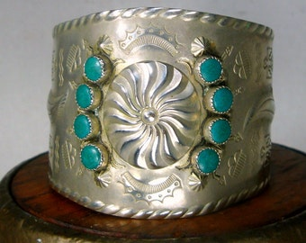 Turquoise Silver Cuff, Wide Native American Style Metal Open Bracelet, 1980s Southwestern Classic,nickel Silver w Resin, Used