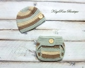 Newborn to 3 Month Old Baby Boy Button Hat and Diaper Cover Set Brown and Khaki Stripes