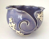 Yarn Bowl //Knitting Bowl with Lilac Embellishment