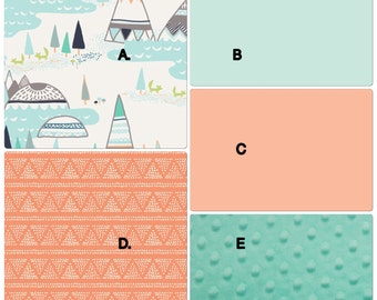 Baby Boy Baby Girl Crib Bedding Set Mint Gray Peach Foxes and Tee Pee