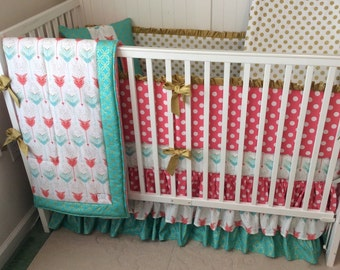 Coral Teal and Gold Ruffled Crib Bedding Set Made to Order Deposit