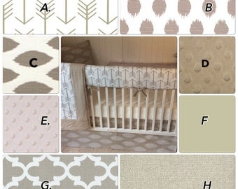 Baby Bedding Crib Bedding Set Taupe White Cream Arrows Bumperless