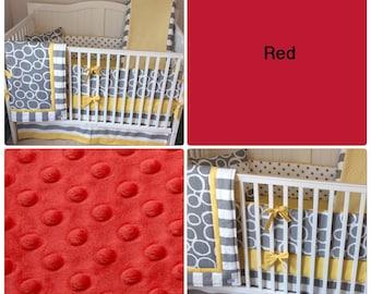 Crib Bedding Set Gray White Red