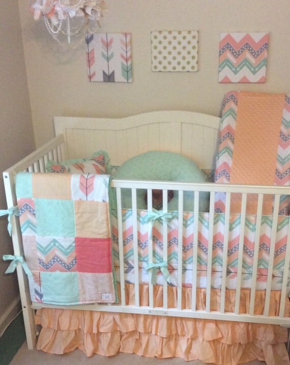 deposit peach gray coral and mint arrows crib bedding set. Black Bedroom Furniture Sets. Home Design Ideas