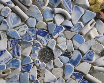 144 Beach Pottery Shards Art Mosaic Craft Supplies (1893)