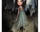 """5x7 Art Print - """"Jagged"""" - Small Sized Giclee Art Print - Little Dark Haired Girl in Blue Dress surrounded by Hearts - Small Sized Art Print"""