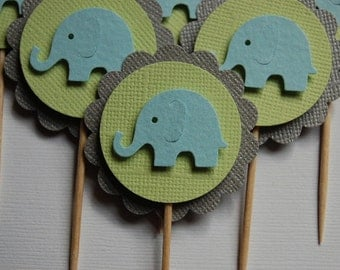 Blue, Lime and Silvery Grey Elephant Cupcake Topper Picks - Baby Shower - First Birthday - Elephant Themed Party - Set of 6 -- Ready to Ship