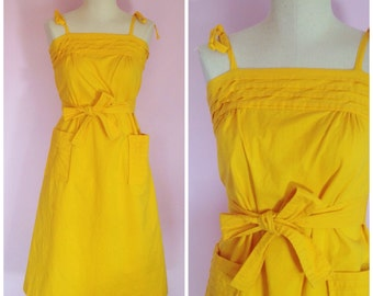 Vintage 1960s Yellow Bow Sundress/ XS S