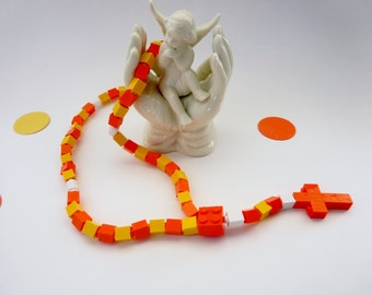 Catholic Kids Rosary - Orange and Yellow Rosary made with Lego Bricks - Christmas Kid Child Gift - Stocking Stuffer
