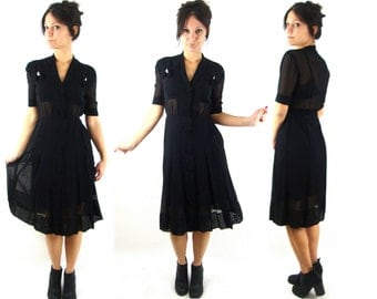 30s / 40s black sheer formal dress small