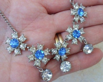 Drippy rhinestone necklace blue flowers vintage 50;s jewelry crystal drops