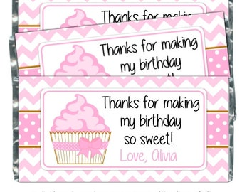 Birthday Candy Wrappers, Cupcake Birthday Candy Bar Wrappers - fit over 1.55 oz chocolate bars, Pink Cupcake Candy Wrappers