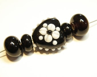 Coordinating Set of Five (5) Black and White Heart Focal Bead and Rondelles  - Lot 3G