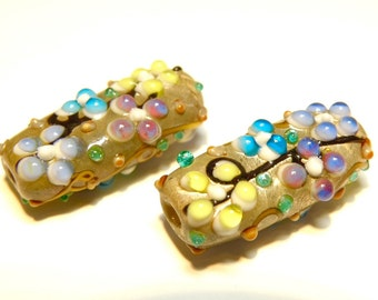 DESTASH -- One (1) Multicolor Flowers Lampwork Tube Bead with Silver Foil -- Lot UU
