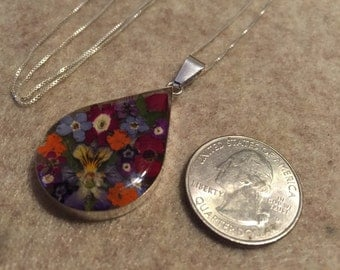 Sterling Silver REAL Flower Pendant Necklace/Large Teardrop