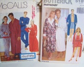 CLEARANCE 2 Patterns - McCall's 7428 Unisex Pajamas- Top and Pants ONLY and Butterick 5189-  Unisex Loungewear Shorts and Misses Tank Top