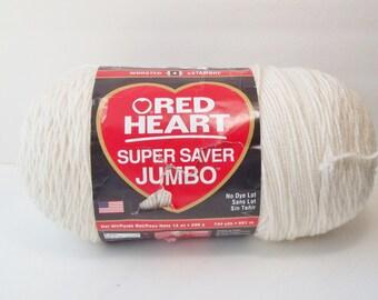 Red Heart Super Saver Jumbo Yarn, SALE,  Aran or Ivory, 100% Acrylic Yarn 1 Skein Yarn Destash Knitting Crochet Supplies, No Dye Lot