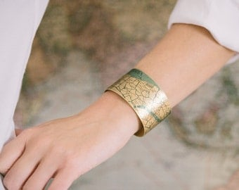 Venice Italy - Street Map - Brass Cuff Bracelet - Venetian Canals Bridges - Map Jewelry - Travel Gift - Geeky - Gifts For Wife