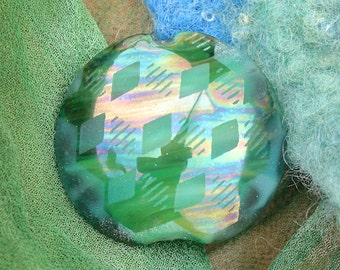 Lampwork Bead SRA Handmade Lampwork Glass Bead ~ Focal Lentil ~ Tumbling Blocks Optical Illusion ~ Iridescent Sandblasted Glass