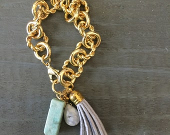 Amazonite and Chain Bracelet