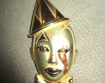 Vintage Creepy Clown Bleeding Tears Harlequin Mask Brooch Pin Gothic Jewelry