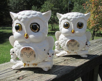 Vintage Ceramic Owl Wall Pocket Vase Planter Pair--Faux Clock Face--Big Eyes--Shabby Chic--Baby Birds Kitsch Tree Branch--Made in Japan
