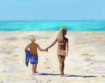 "Brother Sister Boy Girl Art Print Beach House Art Print Beach Art Blonde Hair Beach Decor Children Art Playing Ocean ""On The Sunny Beach"""