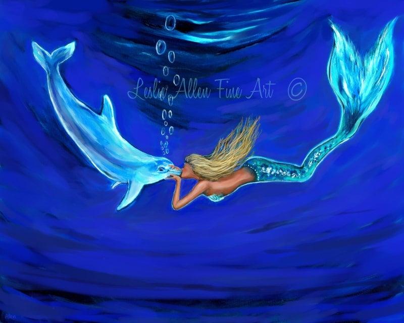 Mermaid Mermaids Art Print Giclee Woman Girl Dolphin Art